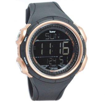 IGear Dual Time - Jam Tangan Sport Pria - Rubber Strap - IG I411978 - Hitam