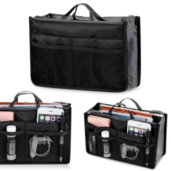 Harga Yidabo Women Multifunction Organizer Storage Bag Travel Cosmetic Makeup Insert Pouch Toiletry Organizer Handbag (Black)
