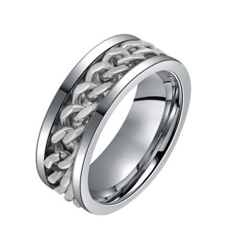 Whyus Luxury Wedding Band Ring Titanium Steel Curb Chain Spin For men Silver 8mm