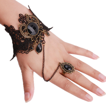 Harga LALANG Fashion Flowers Bracelet and Ring (Black)