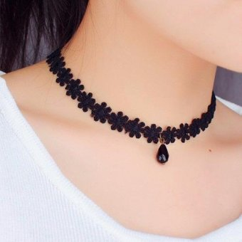 Harga Santorini Wanita Kalung Liontin Fashion Choker Lace Flora Women Jewelry Necklace - Black