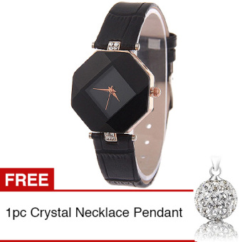 Harga Santorini Jam Tangan Wanita Faux Leather Luxury Women Watch - Black + Gratis 1pc Crystal Necklace Pendant