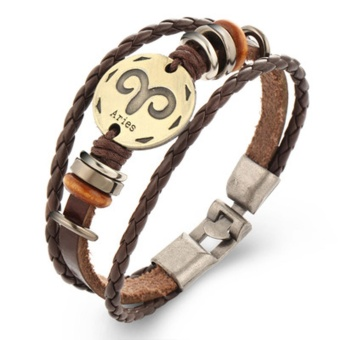 Harga Hequ Punk Bronze Alloy 12 zodiac signs Bracelet Charm True Leather Bracelet Wooden Bbeads Bracelets Bangles For - intl