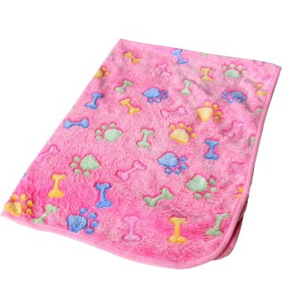 Harga Warm Pet Mat Bone Print Cat Dog Puppy Fleece Soft Blanket Bed Cushion Pink Bone & 60*40cm
