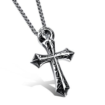 Harga Cross Pendant Necklace Mens Individual Titanium Steel
