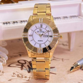 Harga Saint Costie - Jam Tangan Wanita-Body Gold/White Dial - SC-5757E-GW-Gold-Stainless Steel Band
