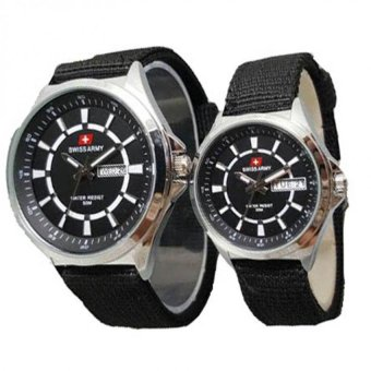 Swiss Army Date Jam Tangan Couple Strap Canvas SA 5096 Hitam .