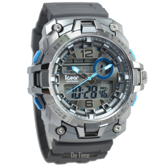 Harga i-Gear IG57-DT - Jam Tangan Pria - Strap Rubber - Silver Abu