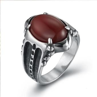 Harga Men's Vintage and Noble Gem Shining Ring-Red - intl