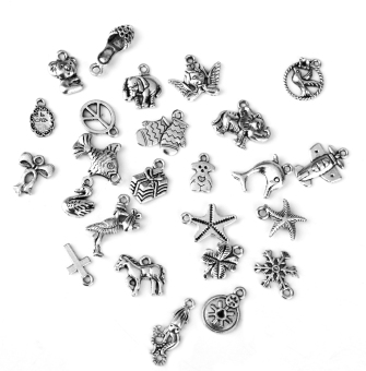 Harga BolehDeals 25pcs Mixed Shapes Tibetan Silver Pendants Charms #4