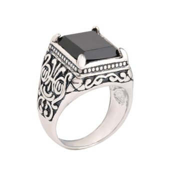 Harga Victory21# Ring Chinese style Antique Silver Totems Inlaid crystal Resin gem Jewellery - intl