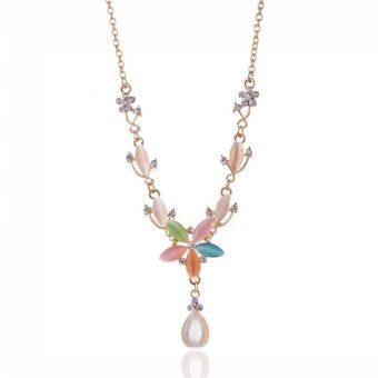 Harga Korean Fashion Water Drop Gem Candy Color Women Sweater Necklace Jewelry Accessorious - intl