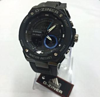 D-ziner Dual Time - DZ 8132 - Jam Tangan Sport Pria - Rubber Strap