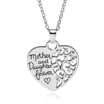 Harga Fashion Jewelry Silver Heart Pendant Necklace Mother and Daughter Love Jewelry Collar Necklace - intl