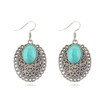 Harga Jiayiqi Hollow Ellipse Turquoise Dangle Earrings