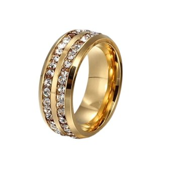 Harga Hequ Double Diamond Titanium Stainless Steel Ring Size 19 (Golden)