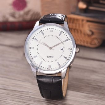 Harga Costie Land - Jam Tangan Pria - Body Silver/White Dial -Costie Land -CL- 5515A-G-SW-TGL-(Silver)-Black Leather