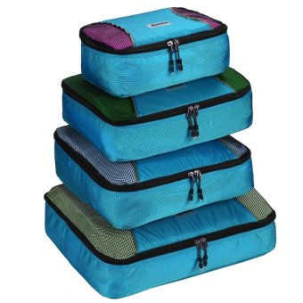 Harga SuperCart HOMDOX 4-Piece Set Packing Cubes Storage Bags Organizer Cloth Bags (Blue)