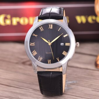 Harga Costie Land - Jam Tangan Pria - Body Silver/Black Dial -Costie Land -CL- 5517C-G-SB-TGL-(Gold)-Black Leather