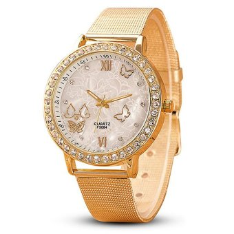 Harga Santorini Jam Tangan Wanita Analog Women Fashion Butterfly Stainless Steel Diamond Wrist Watch - GOLD