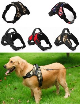 Harga Big Dog Soft Harness Adjustable Pet Dog Big Exit Harness Vest Collar Strap for Small and Large Dogs Pitbulls - Leopard(S) - intl