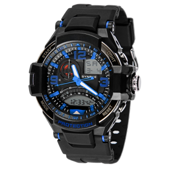 Harga New Multi Function Military Digital LED Quartz Sports Wrist Watch Waterproof Blue/Black