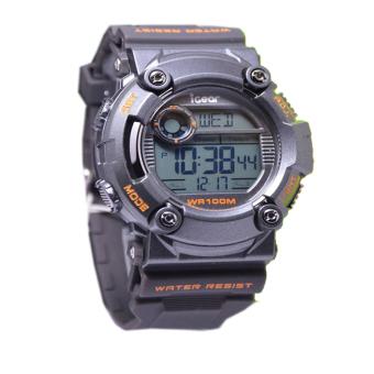 Igear Digital Jam Tangan Pria - Hitam-List Orange - Rubber Strap - IG618