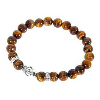 Harga Buddha Head Beads String Stretchy Bracelet Tiger-eye - Intl