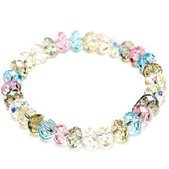 Cocotina Fashion Women Multicolor Crystal Faceted Loose Beads Bracelet Stretch Bangle Jewellery