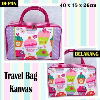 Harga TRAVELBAGMURAH - Travel Bag Kanvas CUPCAKE PINK