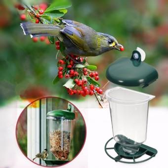 Jendela Kaca Pengumpan Burung Liar Berkeliaran Kebun Bibit Pakan Otomatis Piala Suction
