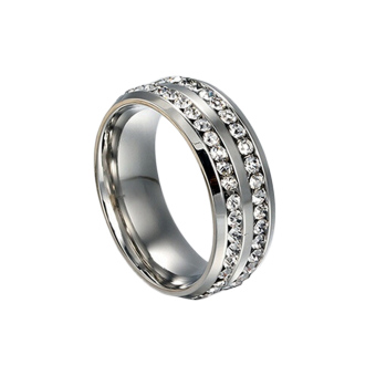 Harga Hequ Double Diamond Titanium Stainless Steel Ring Size 22 (Silver)
