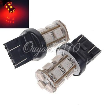 Harga 2Pcs T20 7443 W21W Auto Red 13 SMD 5050 LED Tail Brake Stop Light Lamp Bulb US Ship - intl