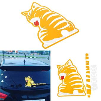 Harga Car Rear Wiper Moving Tail Cartoon Funny Cat Decals Sticker Decoration - intl