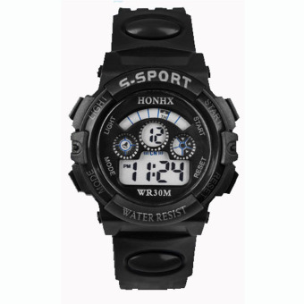 Harga Coconie Waterproof Mens Boys Digital LED Quartz Alarm Date Sports Wrist Watch Black