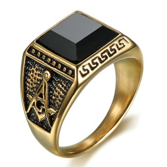 Harga Natural Onyx Stainless steel Masonic Memorial religious Party ring Size 7 8 9 10 11 12 13 14 15 - intl