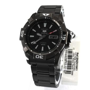 Seiko Watch 5 SPORTS Black Stainless-Steel Case Stainless-Steel Bracelet Mens NWT +