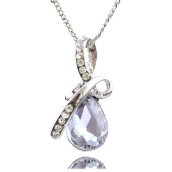 Harga Jiayiqi Crystal Violet Teardrop Pendant Silver Plated Necklace