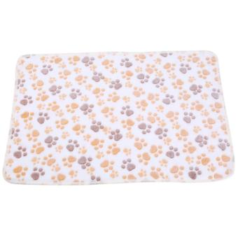 Harga Pet Small Large Paw Print Dog Puppy Pig Cat Warm Fleece Soft Blanket Beds Mat( beige-L- 107*76cm) - intl