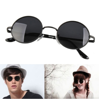Harga Fashion Unisex Oversized Vintage Black Round Circular Shades Large Sunglasses