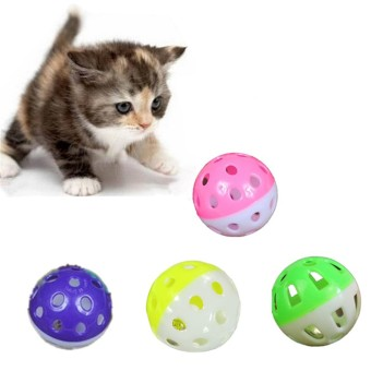 Harga Plastic Colorful Jingle Balls Pet Cat Action Play Chasing Ball Toys Supplies