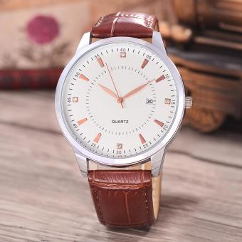 Harga Costie Land - Jam Tangan Pria - Body Silver/White Dial -Costie Land -CL- 5515E-G-SW-TGL-(RoseGold)-Brown Leather