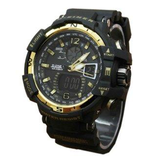 Jual D Ziner D 63h29 Dual Time Jam Tangan Wanita Rubber Strap Biru .
