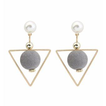 LRC Anting Tusuk Fashion Gray Fuzzy Ball&triangle Shape Decorated Color Matching Earrings