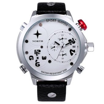 Harga Coconie Men Leather Stainless Steel Sport Analog Quartz Wrist Watch Waterproof White Free Shipping