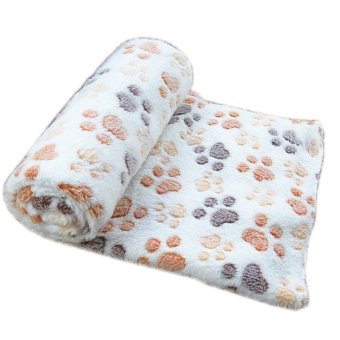 Harga Soft Warm Pet Fleece Blanket Bed Mat Pad Cover Cushion For Dog Cat Puppy Animal Beige Footprint & M