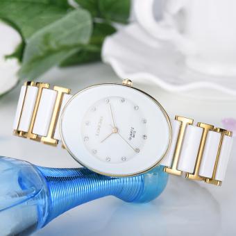 Tahan air Bung LONGBO bisnis keramik Bulat Mewah jam tangan perhiasan jam  kuarsa 8410 pasangan kasual a0a2412207