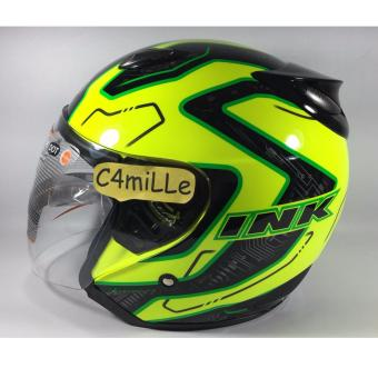 Harga HELM INK CENTRO JET SUPER FLUO #01 YELLOW FLUO BLACK GREEN FLUO HALF FACE