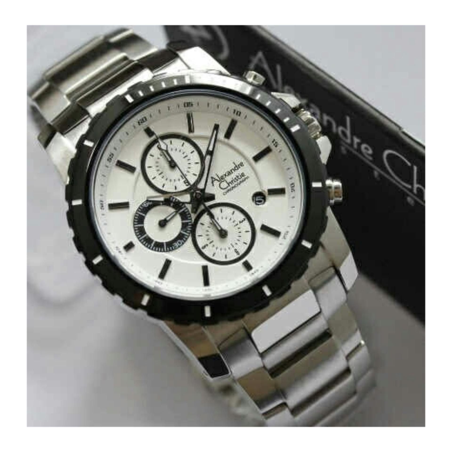 Alexandre Christie Ac6141 Jam Tangan Pria Original Stainless Steel Mcbtbsl For Men Ac 6141 Silver White