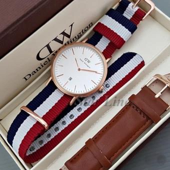 Jam Tangan Fashion wanita Dw Tanggal - Strap Kanvas - Paket